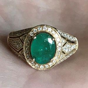 NEW 14k 2.5ct Colombian Emerald Diamond EFFY Ring
